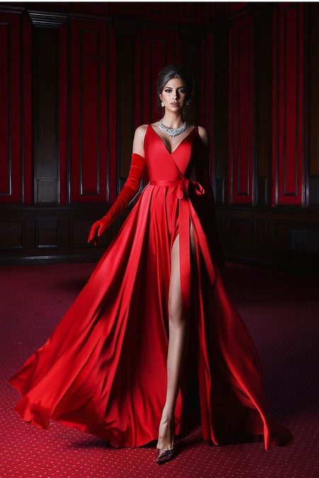 Backless Orange Red Prom Ball Gown Dress Plunging Sweetheart Neckline