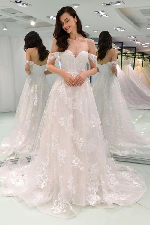 a-line-off-the-shoulder-wedding-dresses-lace-tulle-skirt