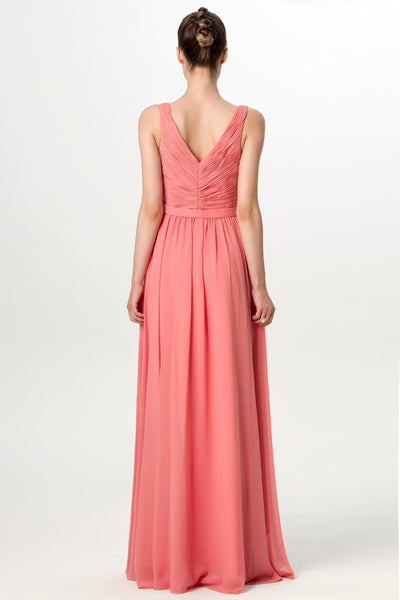 a-line-pleated-v-neck-coral-long-bridesmaid-dress