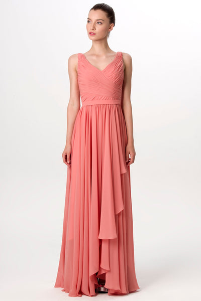 a-line-pleated-v-neck-coral-long-bridesmaid-dress-for-weddings