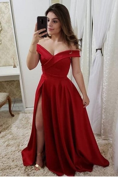 a-line-red-long-prom-party-dress-with-slit-side
