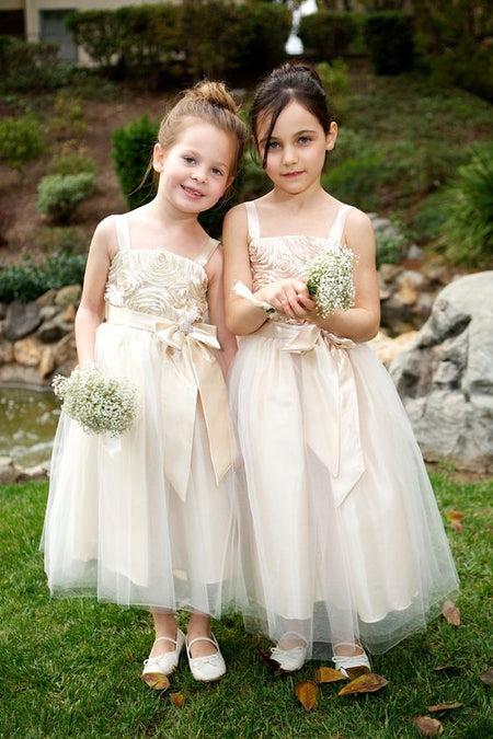 Lace Sleeves Toddler Flower Girls Dresses with Tulle Skirt