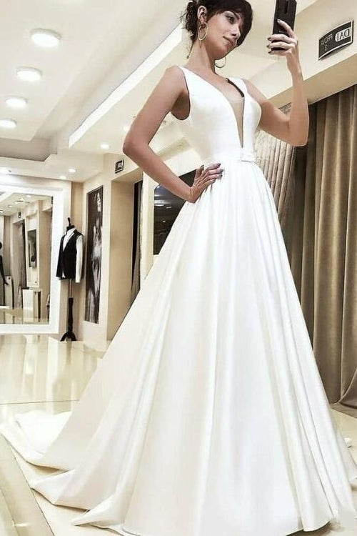 a-line-satin-bridal-dresses-with-v-neckline-illusion-insert