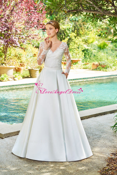 a-line-satin-modest-lace-long-sleeves-wedding-dresses-with-pockets