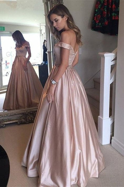 a-line-satin-pink-off-the-shoulder-prom-dress-with-pockets