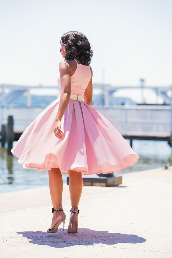 a-line-satin-pink-tea-length-bridesmaid-dress-with-bow-sash-1