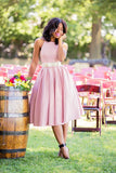a-line-satin-pink-tea-length-bridesmaid-dress-with-bow-sash-2