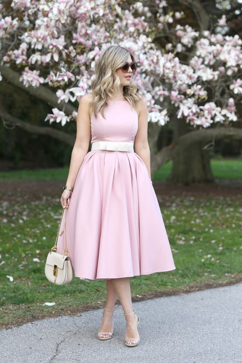 a-line-satin-pink-tea-length-bridesmaid-dress-with-bow-sash