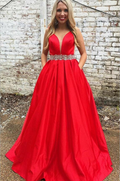 49c9a27e1d A-line Satin Plunging Neck Red Prom Long Dress with Rhinestones Belt