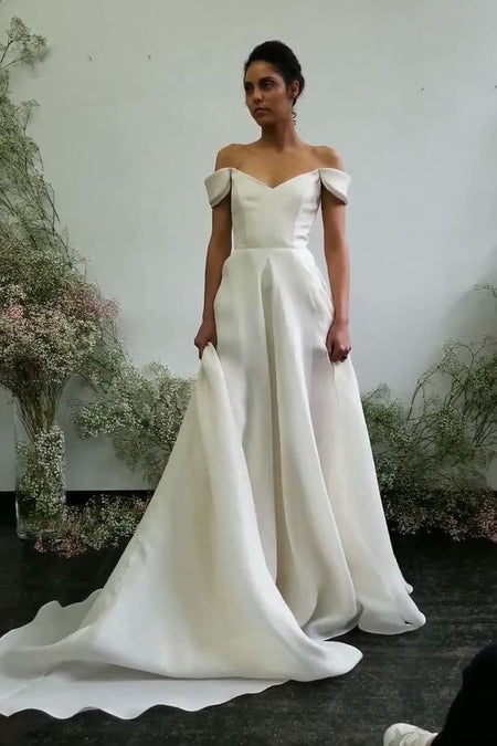 3/4 Sleeves Modest Wedding Dress for Bride 2021