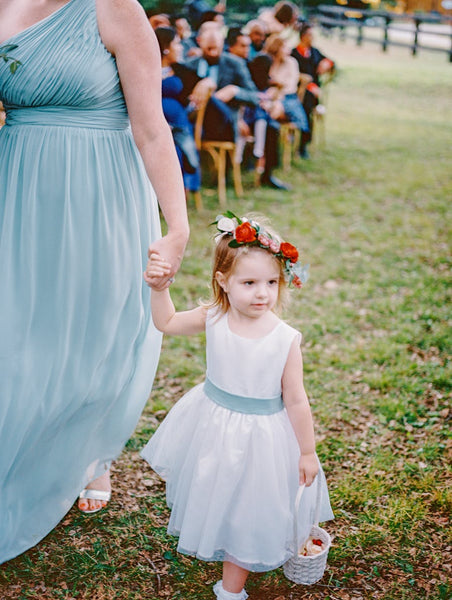 6723856a1d8 A-line Satin Tulle Belted Simple Flower Girl Dress Country – loveangeldress