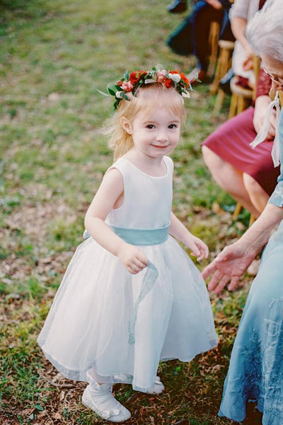 87cfff1a0 A-line Satin Tulle Belted Simple Flower Girl Dress Country – loveangeldress