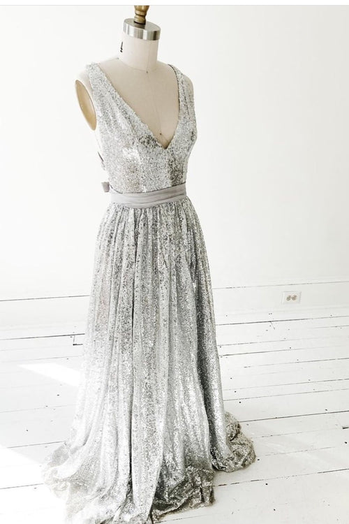 a-line-silver-sequin-prom-dresses-with-v-neckline