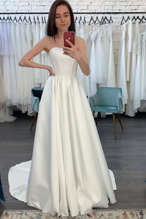 a-line-strapless-satin-bridal-dresses-2021