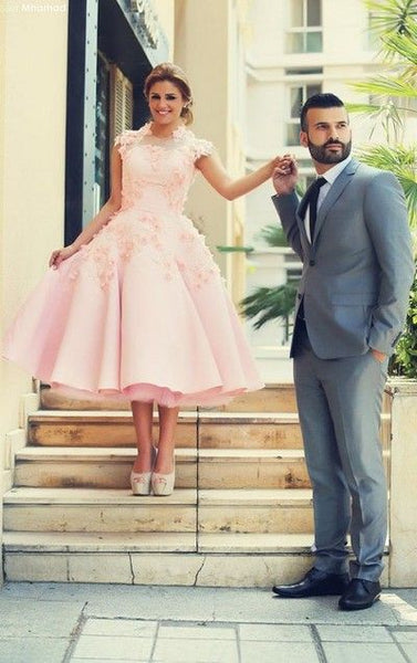 a-line-tea-length-pink-wedding-dresses-with-3d-flowers-2