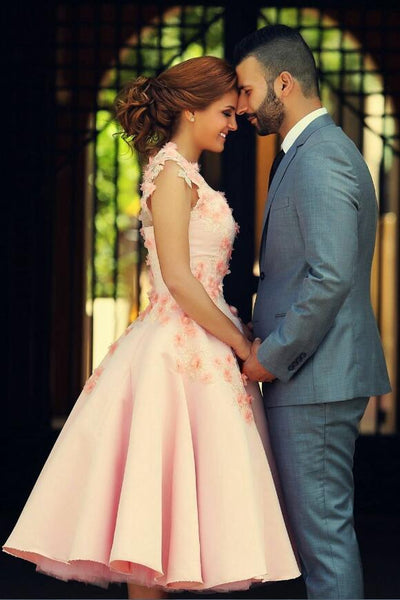 a-line-tea-length-pink-wedding-dresses-with-3d-flowers