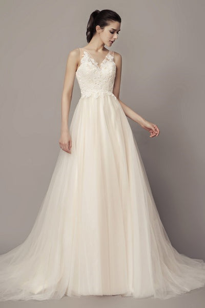 a-line-tulle-beach-wedding-dresses-with-lace-bodice-2
