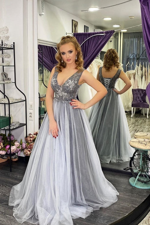 a-line-tulle-gray-prom-dresses-with-beaded-v-neckline-bodice