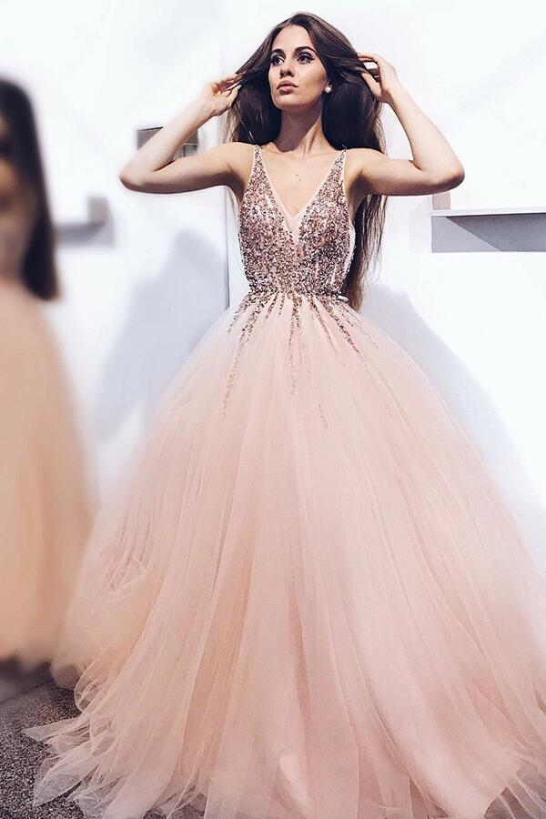 A-line Tulle Long Blush Prom Dresses with Beaded Sequins V-neck ...