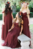 a-line-tulle-off-the-shoulder-wine-bridesmaid-dresses-long-1