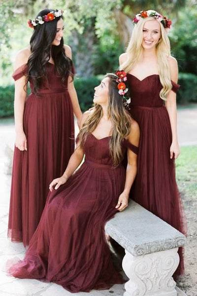 49275fe5c9f032 A-line Tulle Off-the-shoulder Wine Bridesmaid Dresses Long – loveangeldress