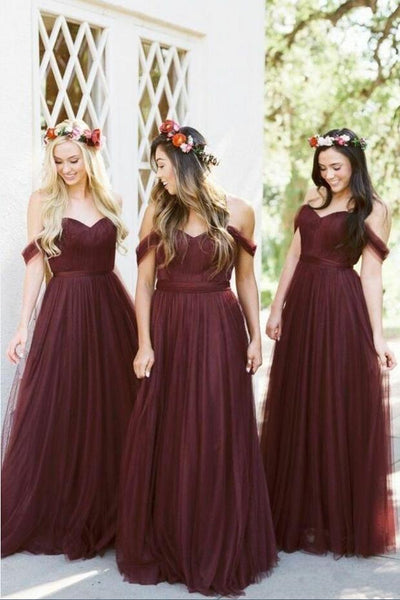 a-line-tulle-off-the-shoulder-wine-bridesmaid-dresses-long