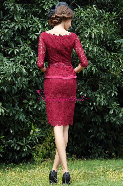 Vintage Burgundy Short Mother of the Bride Lace Dresses with Half Sleeves
