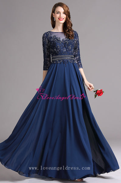 A-line Blue Chiffon Dazzling Beaded Mother Wedding Guest Dresses with Sleeves