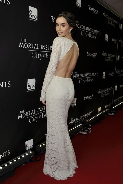 lily-collins-lace-celebrity-dresses