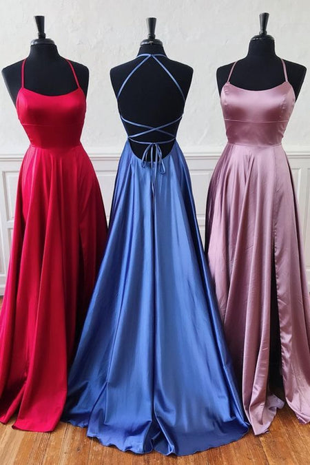 V-neckline Dark Green Prom Dresses with Satin Skirt