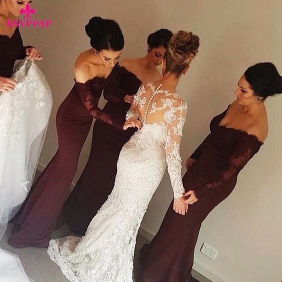 affordable-burgundy-long-wedding-party-dress-for-bridesmaid-1