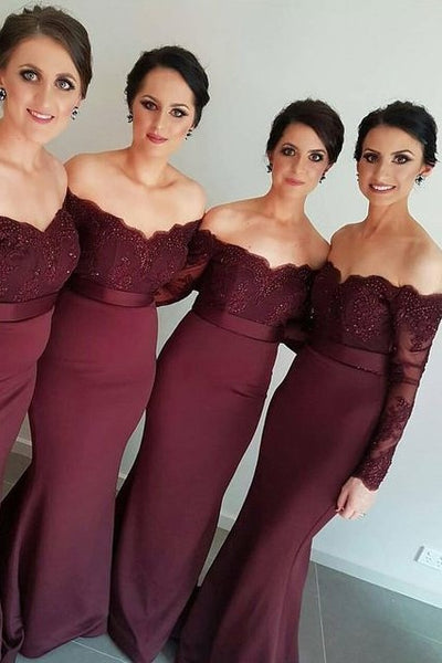 affordable-burgundy-long-wedding-party-dress-for-bridesmaid