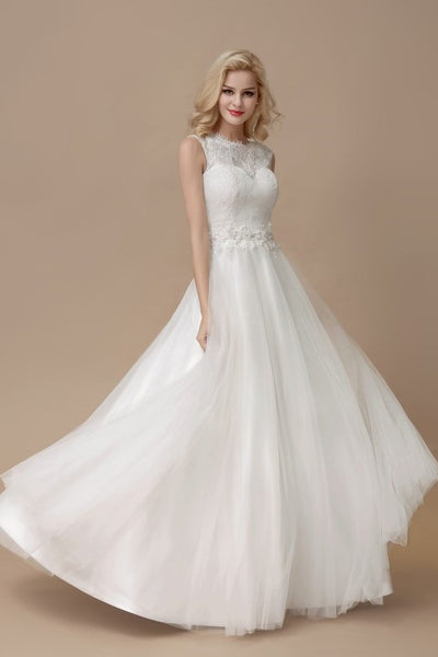 affordable-lace-a-line-bridal-dress-floor-length-tulle-skirt