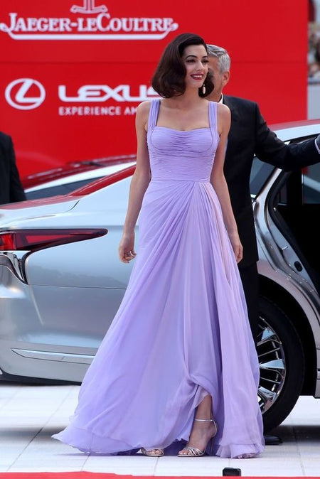 Kate Middleton Chiffon Evening Dress with Single Shoulder Design