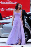 amal-clooney-chiffon-lavender-celebrity-dresses-prom