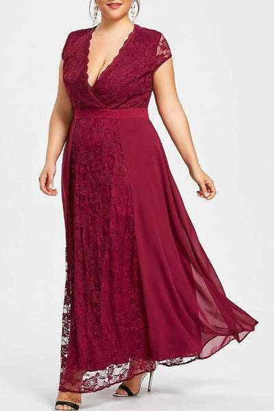 c2daa5405d5 Ankle Length Burgundy Plus Size Mother of the Bride Lace Dress with Sl –  loveangeldress