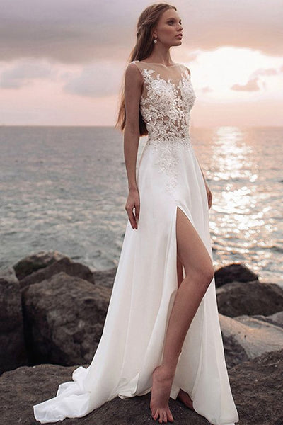 appliqued-lace-beach-wedding-gowns-with-see-through-neckline