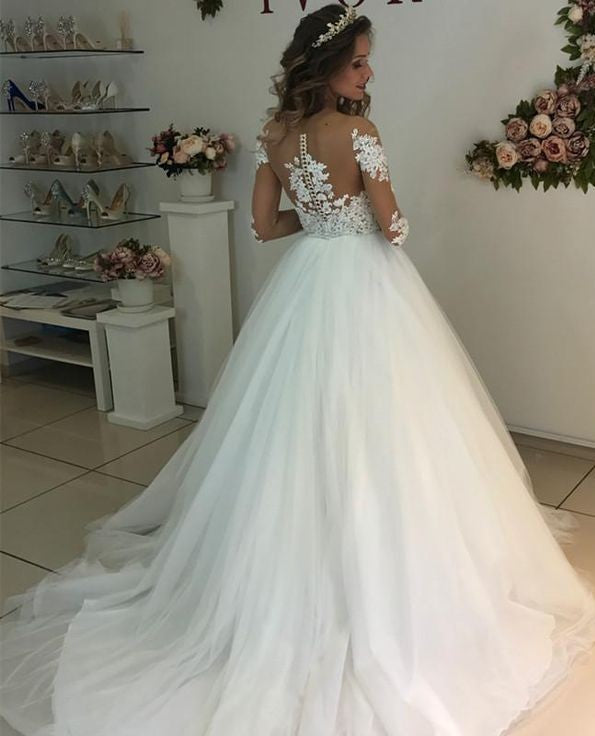 appliques-illusion-long-sleeves-wedding-dresses-tulle-skirt-1