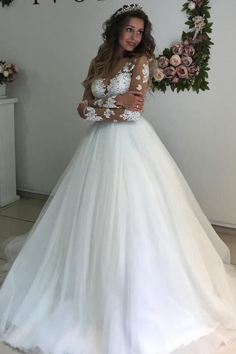 appliques-illusion-long-sleeves-wedding-dresses-tulle-skirt