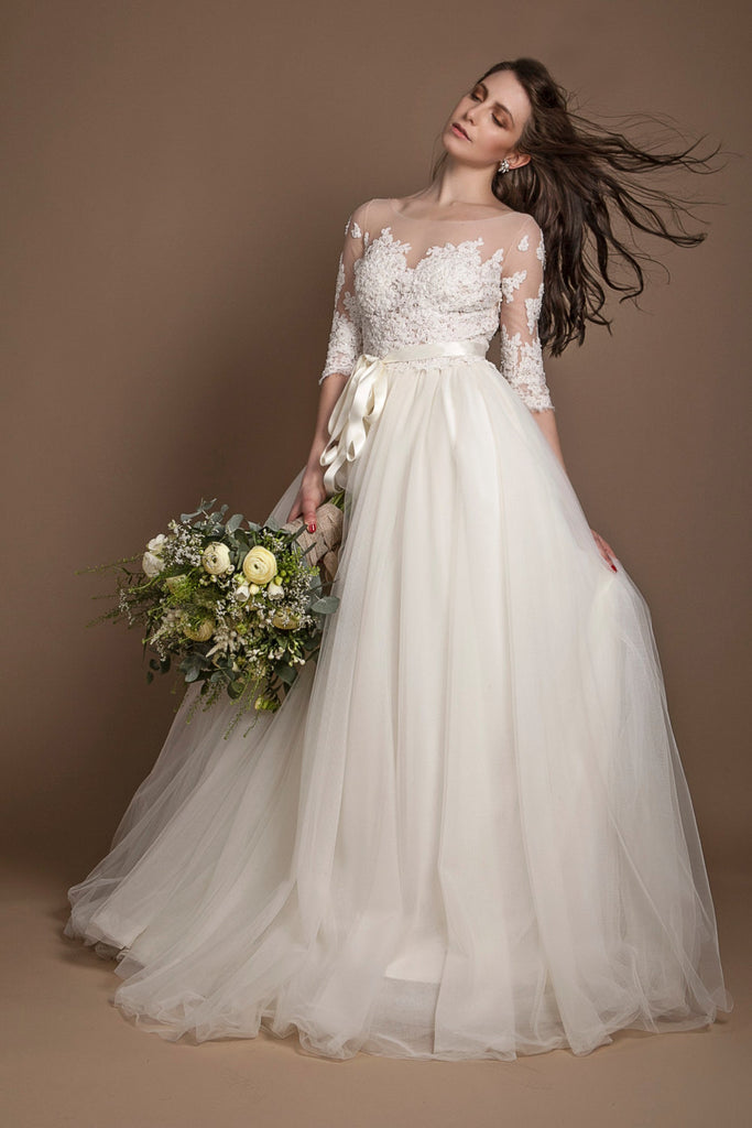 Appliques Illusion Neckline Plus Size Wedding Gown with Sleeves ...