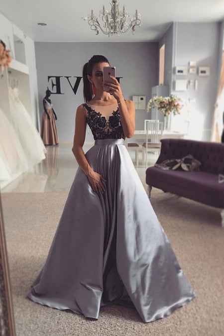 Sky-blue Lace Prom Dresses with Slit Dance Gown vestido de renda