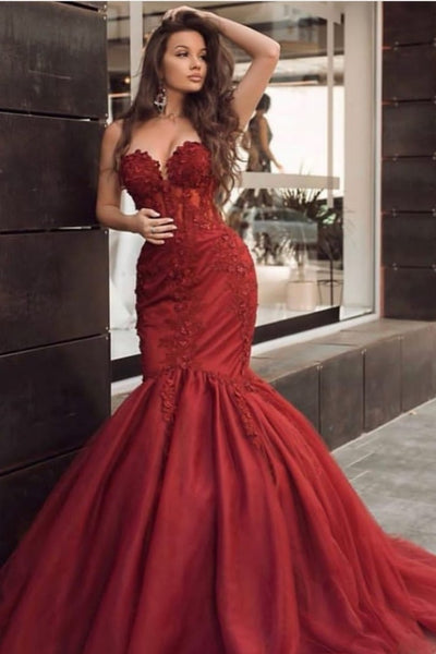 appliques-red-mermaid-evening-dresses-with-tulle-skirt