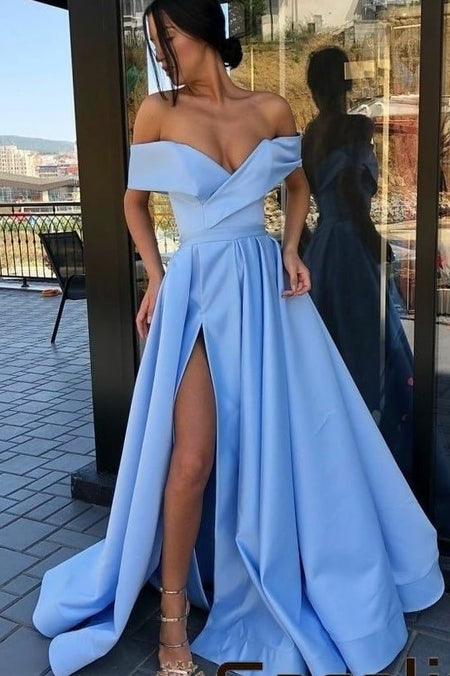 Off-the-shoulder Pink Satin Long Prom Gown with High Thigh Slit