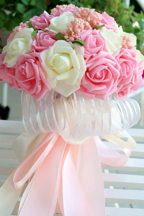 artificial-roses-pink-wedding-bridal-bouquet-holding-flowers