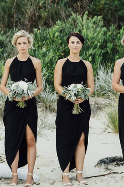 asymmetrical-chiffon-hem-black-bridesmaid-dress-short-1