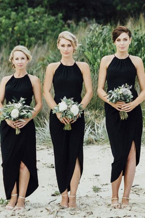 asymmetrical-chiffon-hem-black-bridesmaid-dress-short