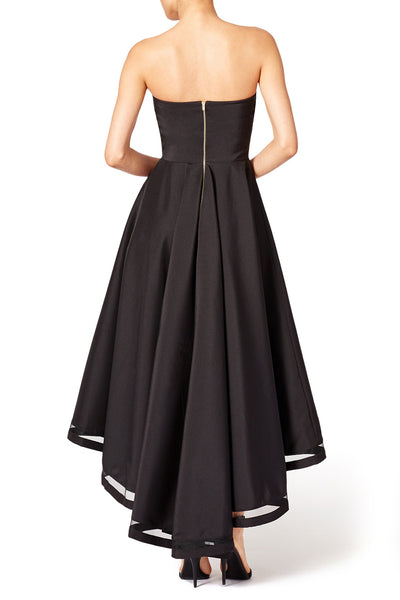 Backless Black High-Low Prom Gown with Strapless Bodice