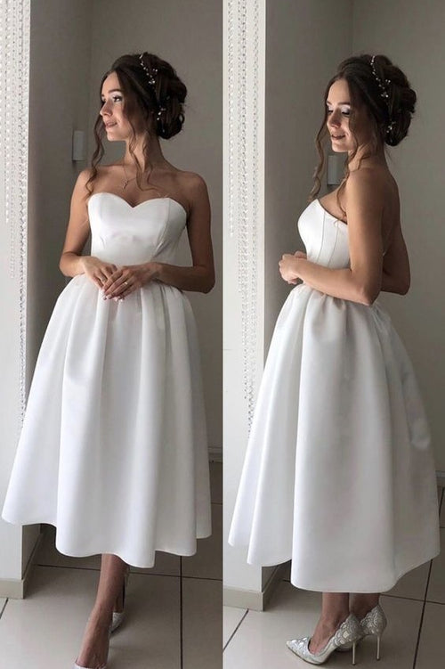 bandeau-sweetheart-tea-length-bridal-dress-for-casual-wedding