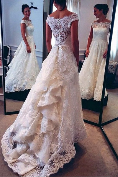 bateau-cap-sleeves-lace-wedding-bridal-dress-with-cascade-train