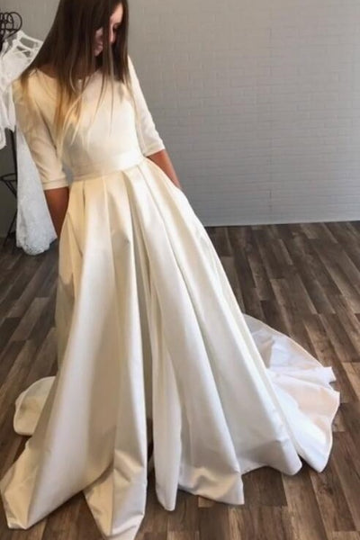 bateau-satin-half-sleeves-wedding-dresses-with-pockets-2